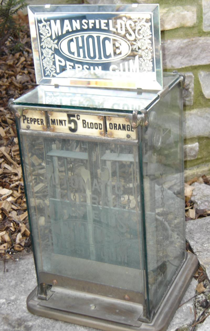 Mansfield's Choice Pepsin Gum Coin Operated Vending Machine